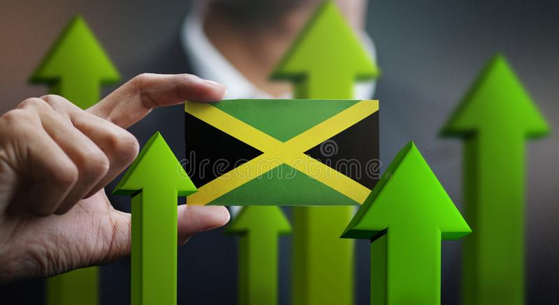 Nation Growth Concept, Green Up Arrows - Businessman Holding Car stock illustration