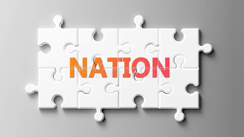 Nation komplex wie ein Puzzle - abgebildet als Wort Nation auf einem Puzzle Stücke zu zeigen, dass Nation schwierig sein kann und vektor abbildung