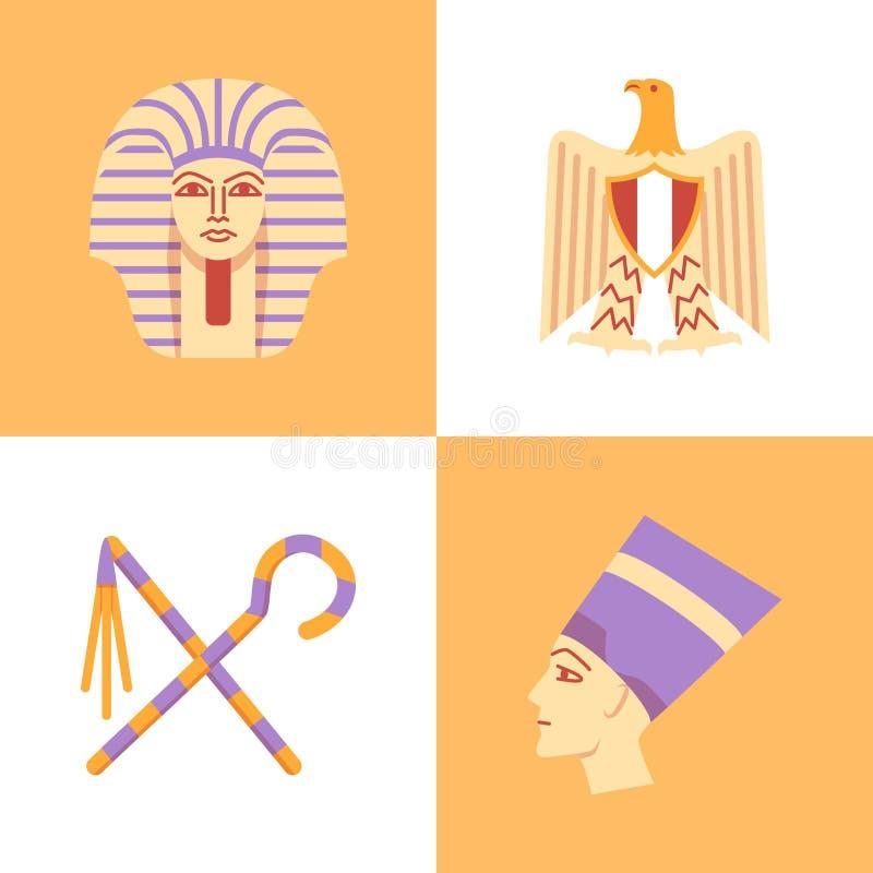 Nationaal die de symbolenpictogram van Egypte in vlakke stijl wordt geplaatst royalty-vrije illustratie