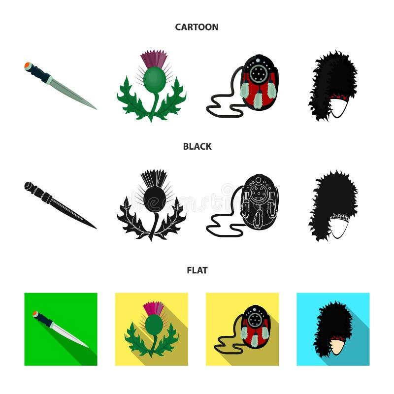Nationaal Dirk Dagger, Distel Nationaal Symbool, glengarry Tasje, Vastgestelde de inzamelingspictogrammen van Schotland in beeldv vector illustratie