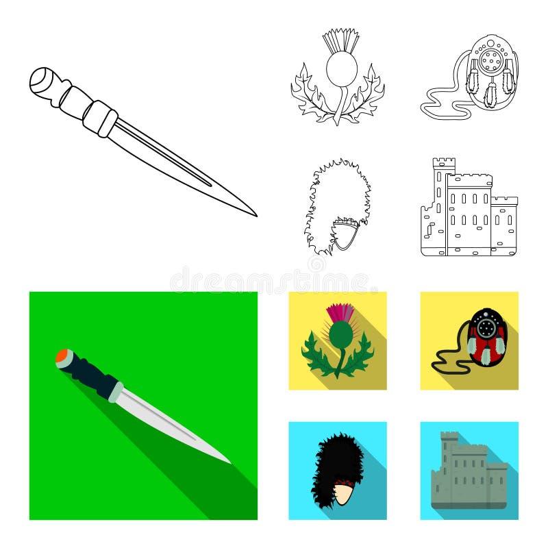 Nationaal Dirk Dagger, Distel Nationaal Symbool, glengarry Tasje, Vastgestelde de inzamelingspictogrammen van Schotland in overzi royalty-vrije illustratie