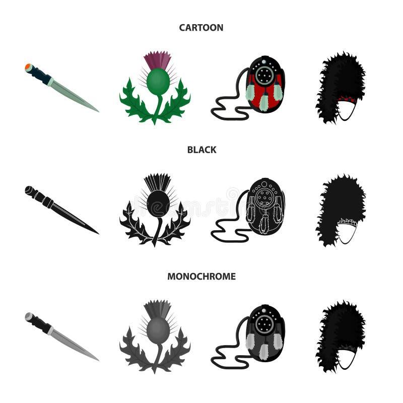 Nationaal Dirk Dagger, Distel Nationaal Symbool, glengarry Tasje, Vastgestelde de inzamelingspictogrammen van Schotland in zwart  royalty-vrije illustratie