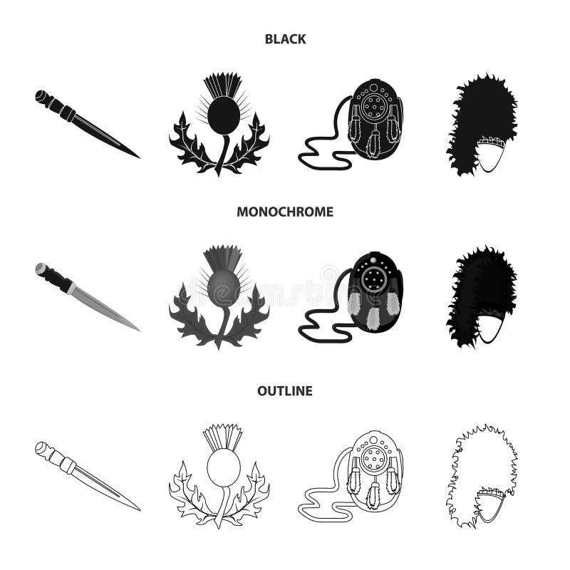 Nationaal Dirk Dagger, Distel Nationaal Symbool, glengarry Tasje, Vastgestelde de inzamelingspictogrammen van Schotland in zwart, stock illustratie