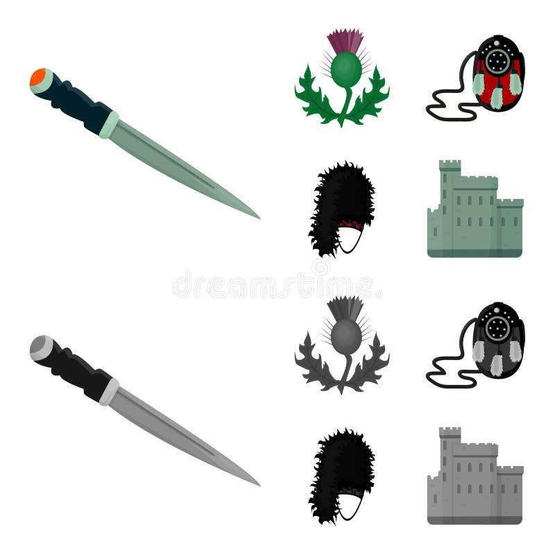 Nationaal Dirk Dagger, Distel Nationaal Symbool, glengarry Tasje, Vastgestelde de inzamelingspictogrammen van Schotland in zwart- royalty-vrije illustratie
