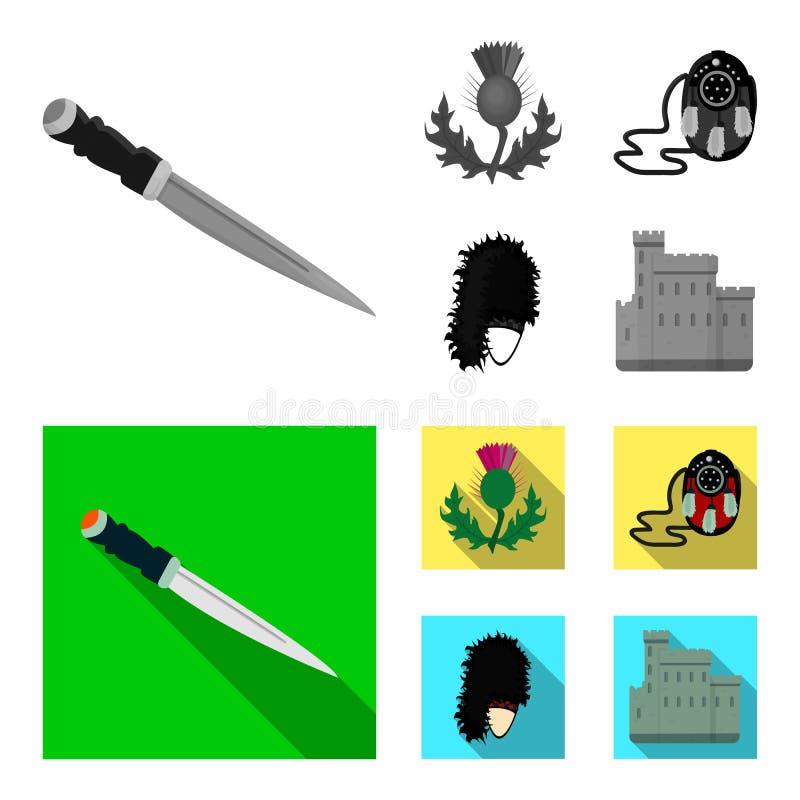 Nationaal Dirk Dagger, Distel Nationaal Symbool, glengarry Tasje, Vastgestelde de inzamelingspictogrammen van Schotland in zwart- vector illustratie