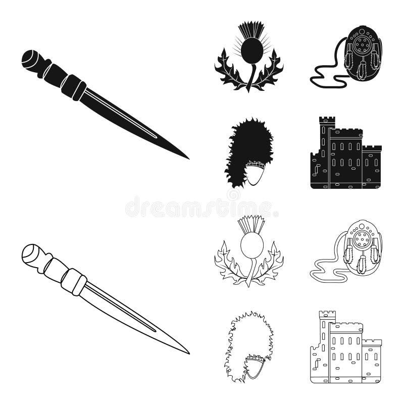 Nationaal Dirk Dagger, Distel Nationaal Symbool, glengarry Tasje, Vastgestelde de inzamelingspictogrammen van Schotland in zwarte vector illustratie