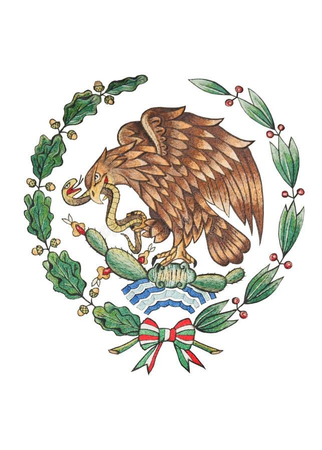 Nationaal Embleem van Mexico dat op Wit wordt geïsoleerd stock illustratie