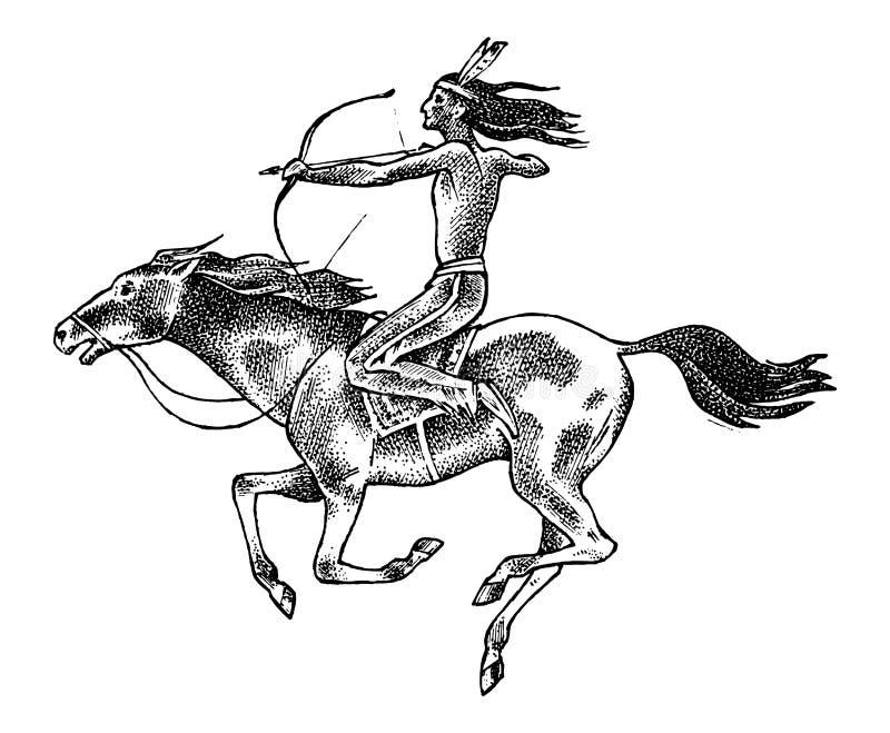 Nationaal Indiaan het berijden paard met in hand spear Traditionele mens gegraveerde die hand in oude schets wordt getrokken royalty-vrije illustratie