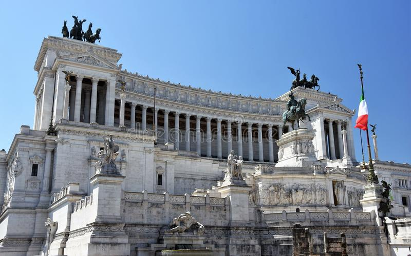 Nationaal Monument aan Victor Emmanuel in Rome, Italië stock afbeelding