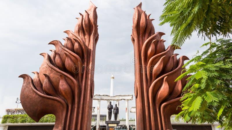 Nationaal Monument in Surabaya, Heldendag, Oost-Java, Indonesië stock afbeeldingen