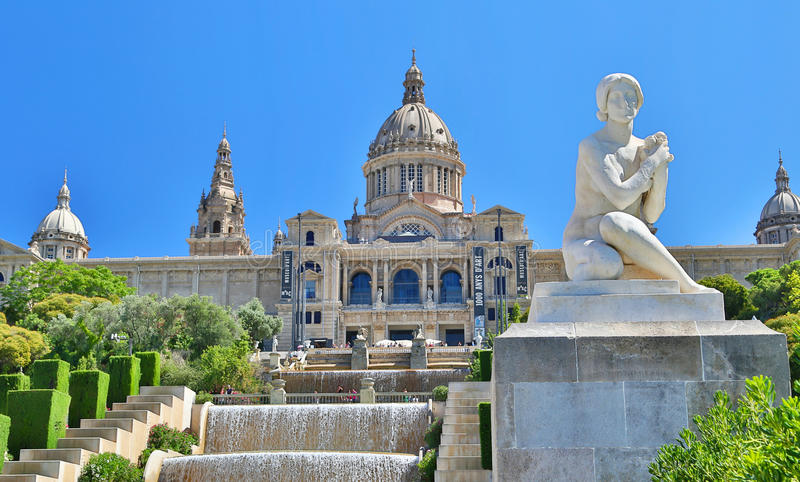 Nationaal Museum van Catalaanse Kunst (MNAC) in Barcelona stock afbeelding