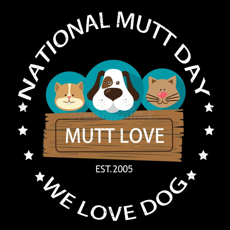 Nationaal Mutt Day stock illustratie