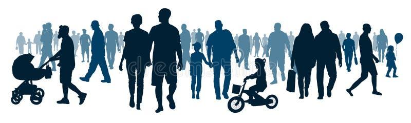 Nationaal openbaar publiek De menigte van mensen die mensen lopen gaat vector illustratie