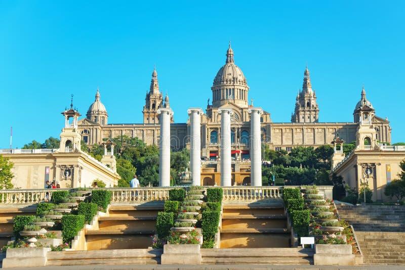 Nationaal Paleis op Montjuic-heuvel in Barcelona van Spanje royalty-vrije stock afbeeldingen