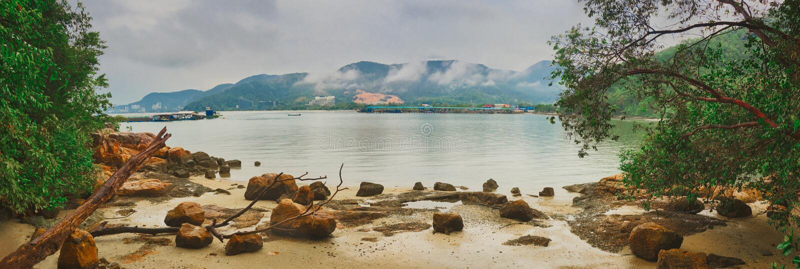 Nationaal park Penang, Maleisië Panorama royalty-vrije stock foto's