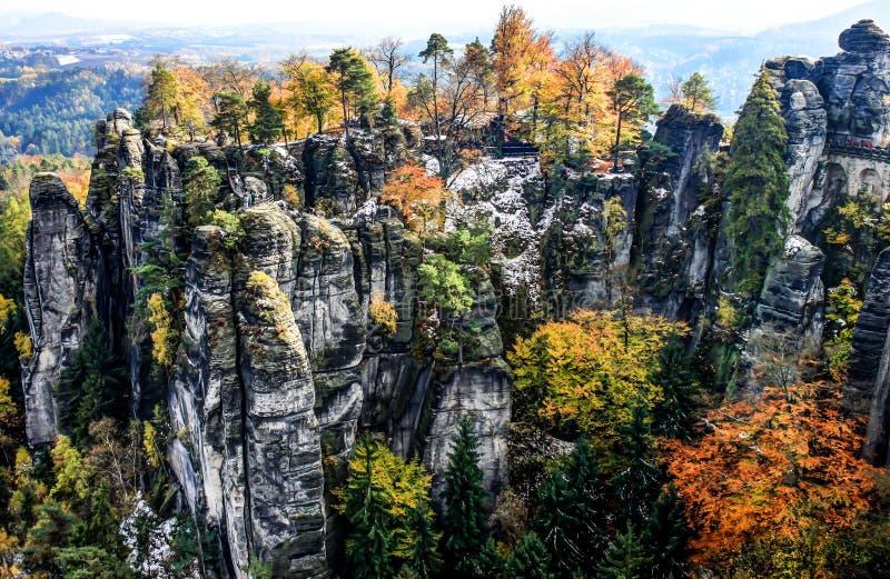 Nationaal Park Saksisch Zwitserland Bastei in Duitsland royalty-vrije stock foto