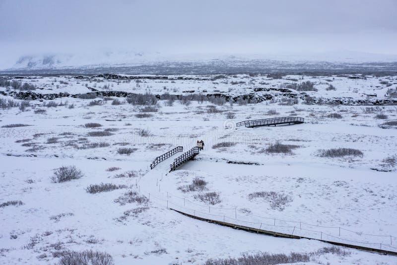 Nationaal park Thingvellir in de winter stock afbeeldingen