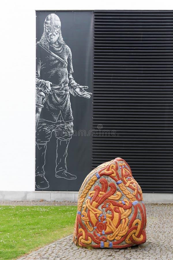 Nationaal Viking-museum in Jelling, Denemarken stock foto's
