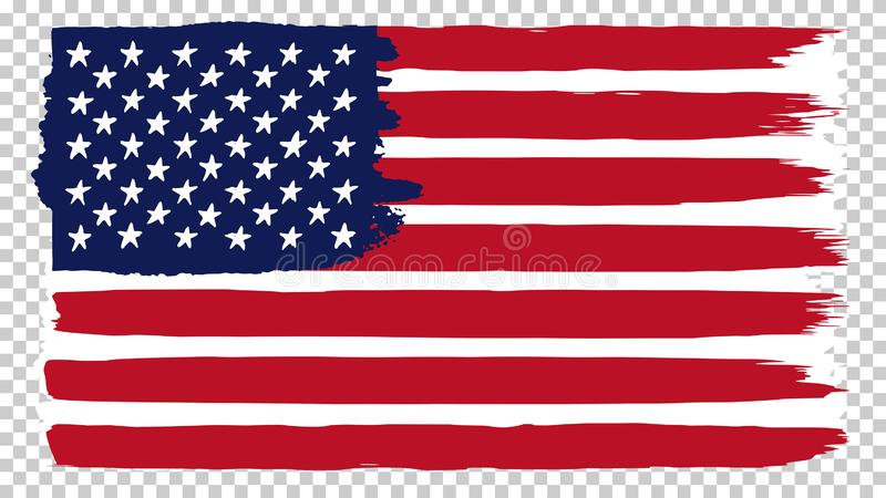 National American flag, transparent background. Brush stroke grunge dirty flag of USA. stock illustration