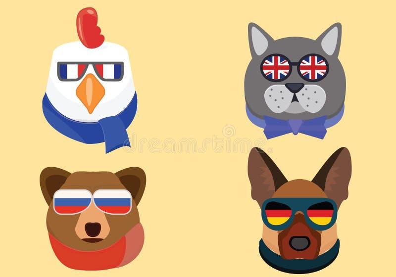 National animals illustration. Cute animals in national glasses stock illustration