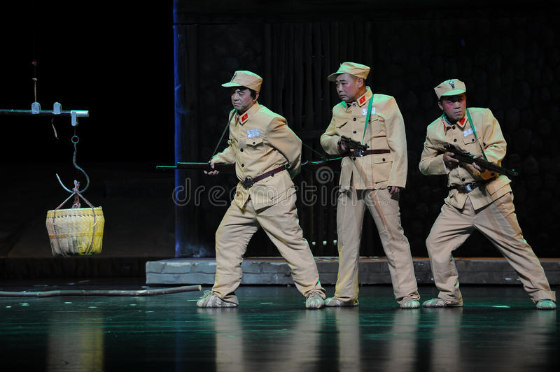 National army soldiers negative shape- Jiangxi opera a steelyard. Jiangxi opera a steelyard is adapted from a true story: the last century fortys, the royalty free stock photography