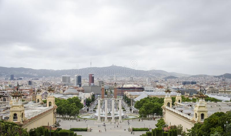 National Art Museum of Catalunya in Bancelona, Spain. Panorama of the beautiful europian city fron the Barcelona art. Museum in. Nice cityscape royalty free stock photos