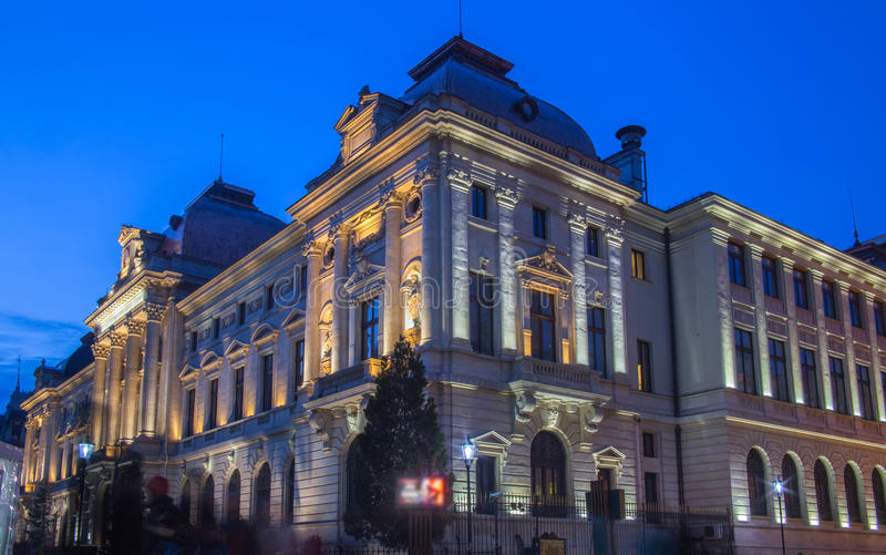 National Bank du bâtiment de la Roumanie dans la région de Lipscani de Bucarest images stock