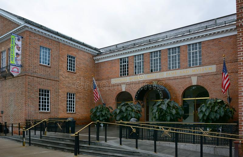 The National Baseball Hall of Fame and Museum. COOPERSTOWN, NEW YORK - SEPT 28, 2018: The National Baseball Hall of Fame and Museum. Their motto is - Preserving stock photos