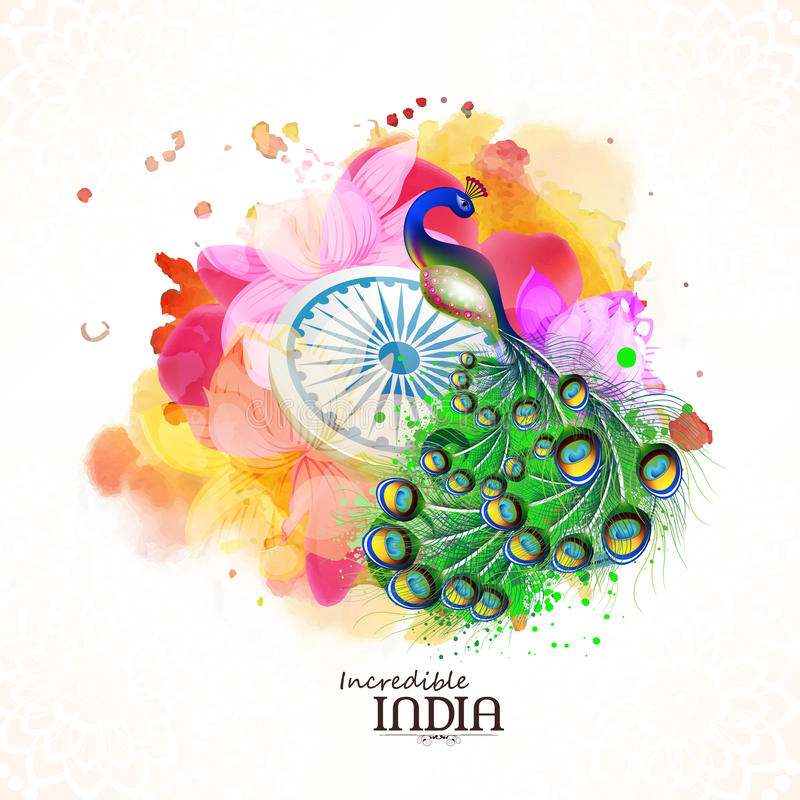 National Bird for Indian Republic Day celebration. Incredible India, Creative illustration of Indian National Bird Peacock with Ashoka Wheel on beautiful floral royalty free illustration