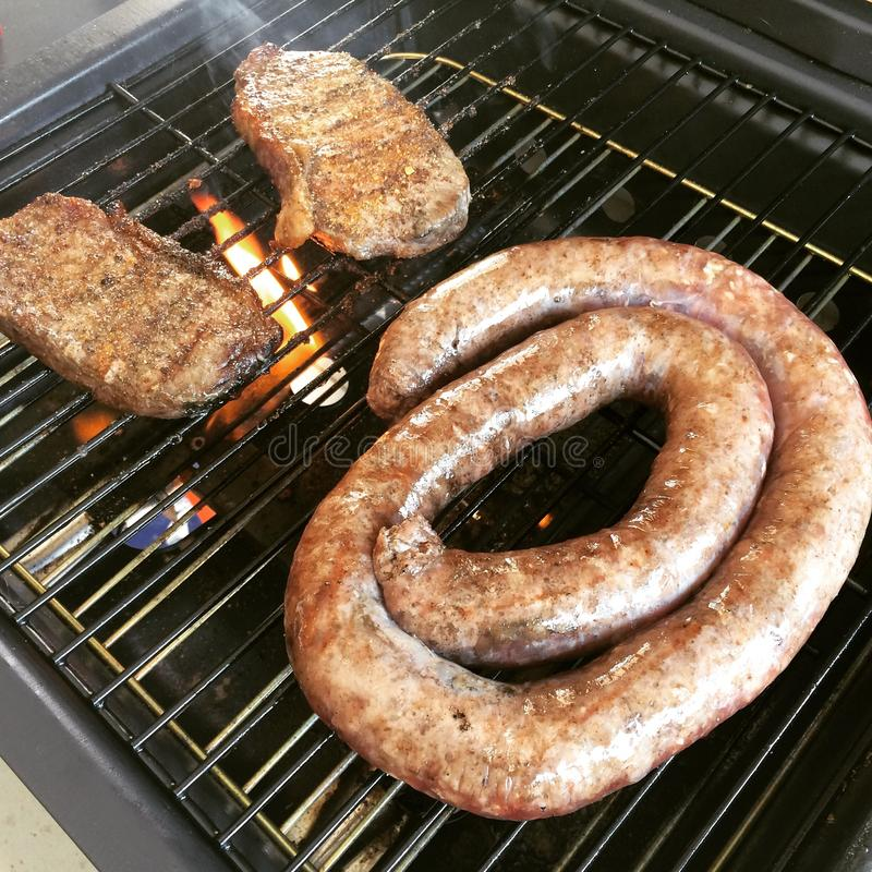 National Braai day 2015. Having a braai (barbecue) on heritage day stock photography