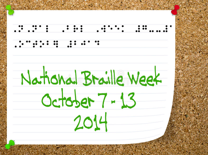 National Braillle Week - October 2014. Stock Illustration