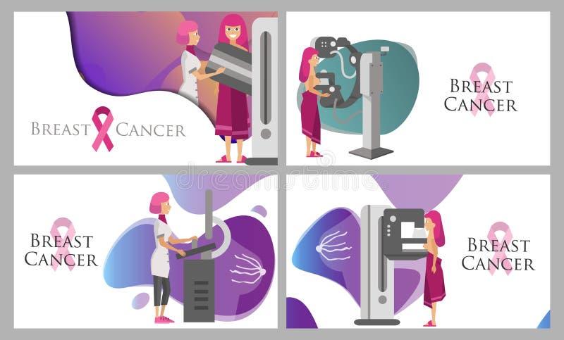 National Breast Cancer Awareness Month or Pink ribbon set royalty free illustration