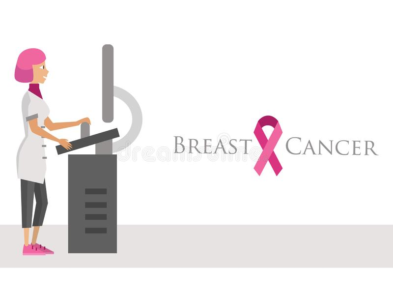 National Breast Cancer Awareness Month poster with pink ribbon. Mammalogist doctor standing at magnetic resonance imaging or mri machine vector illustration vector illustration