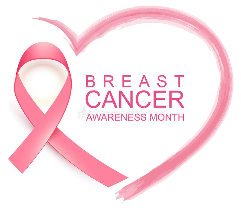 Free National Breast Cancer Awareness Month. Poster Pink Ribbon, Text And Heart Shape Stock Image - 126986141