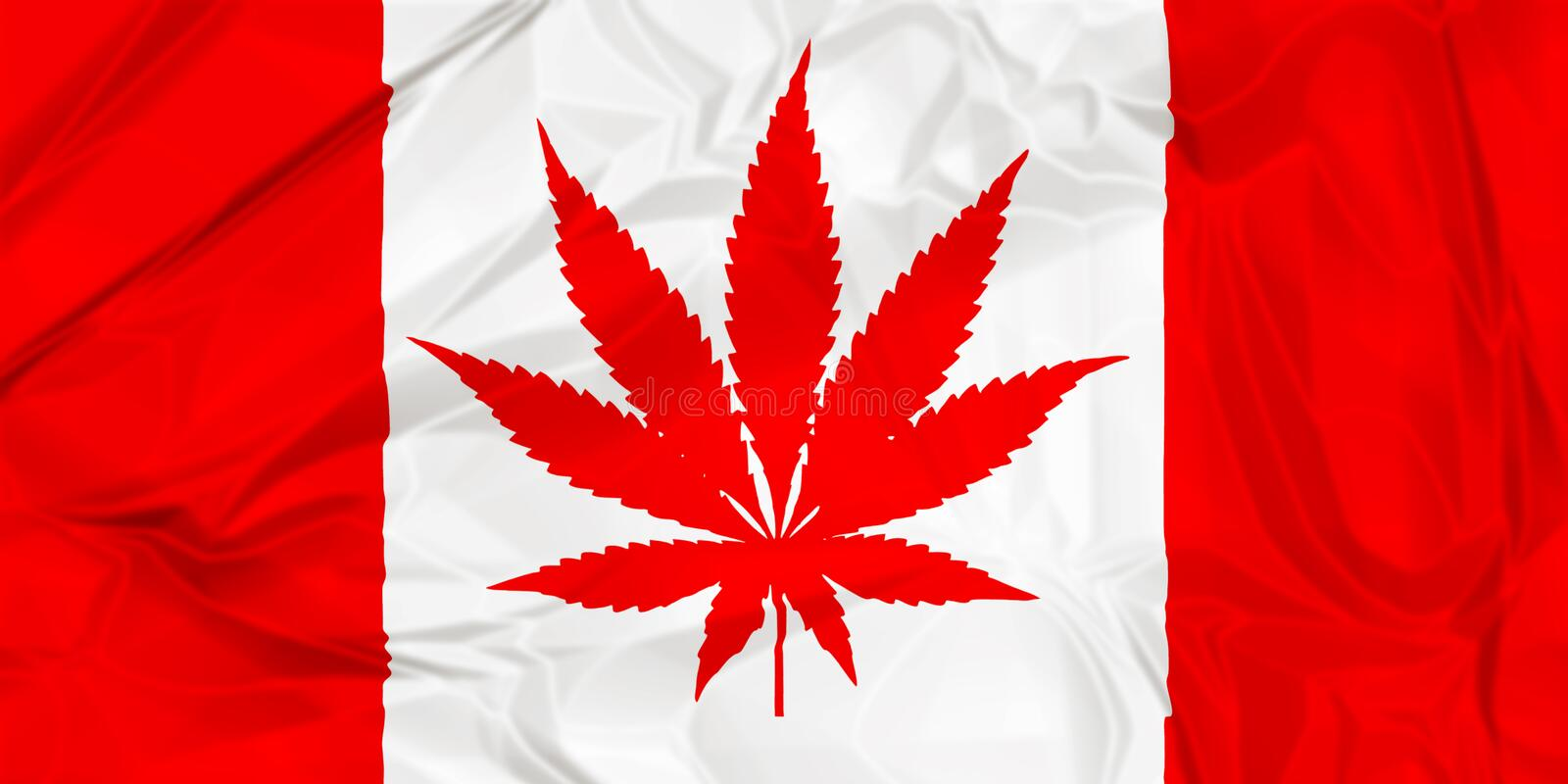 Canadian cannabis leaf flag royalty free stock image