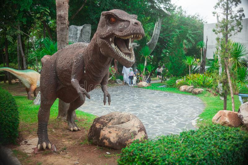 Dinosaurs in one that looks evenly matched between reptiles and birds,. National Canal Science Museum/Pathumthani/31-Dec-2018:Dinosaurs in one that looks evenly royalty free stock photo