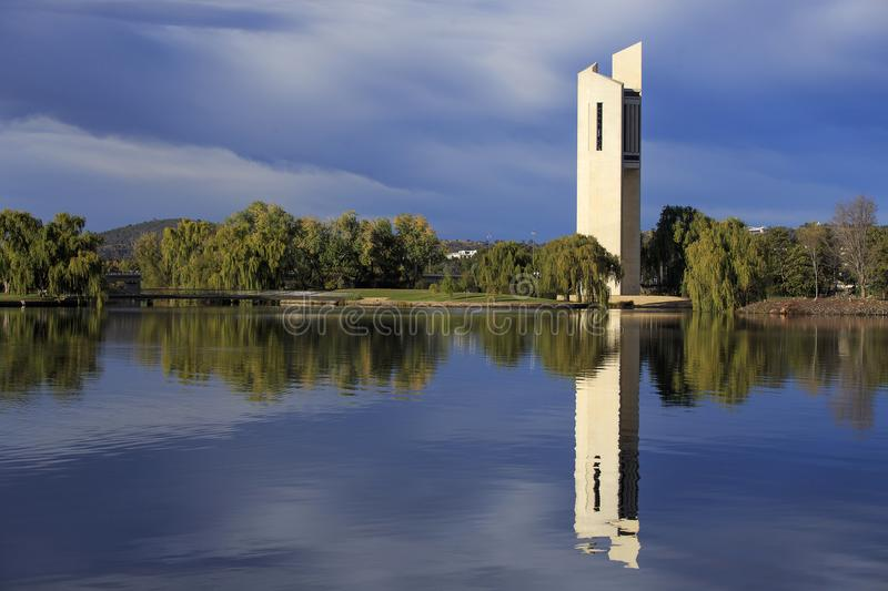 Caberra Carillon. The national Carillon in Canberra, Australia reflected on Lake Burley Griffin stock images