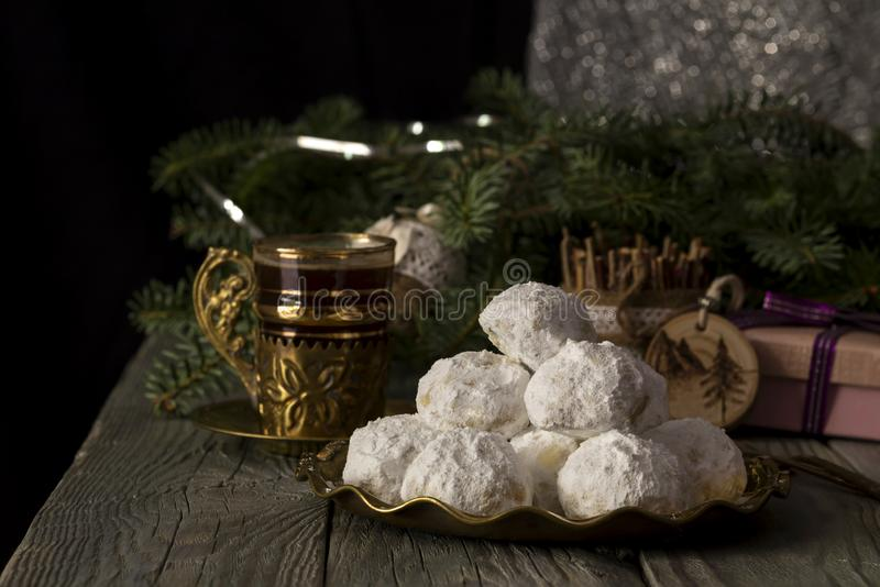 National, Christmas greek cookies `kourabies` royalty free stock photography