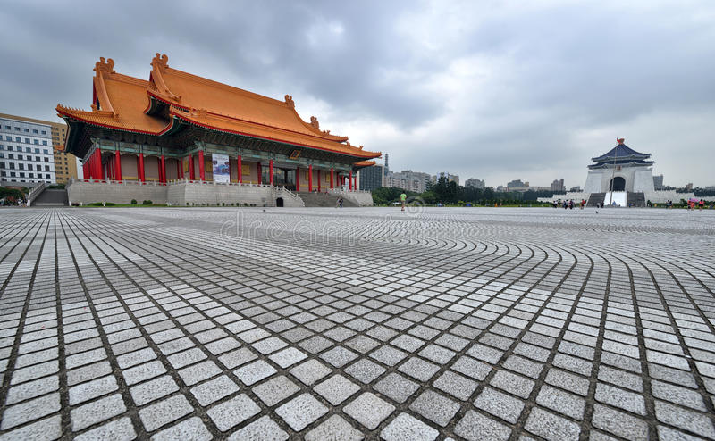 National Concert Hall and Chiang Kai-shek Memorial Hall. The National Chiang Kai-shek Memorial Hall is a Taiwanese national monument, landmark and tourist stock photo
