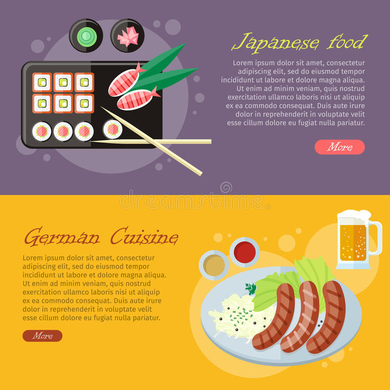 National Cuisine Flat Vector Web Banners Set. National culinary delights. Japanese food, German cuisine banners. Sushi rolls on plate, bamboo sticks, wasabi stock illustration