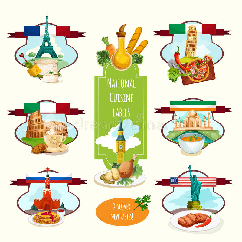 National Cuisine Labels royalty free illustration
