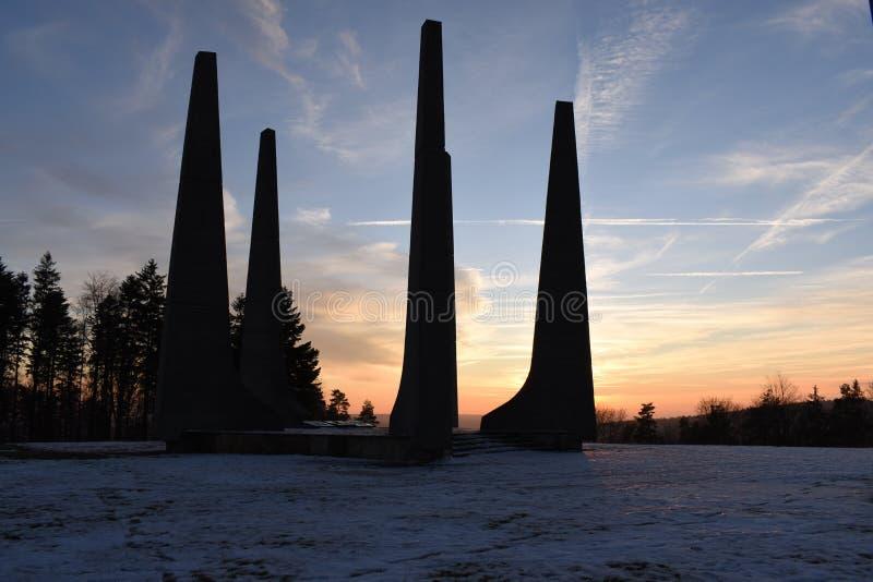 National Cultural Monument Ploština, winter, Region Zlin, Czech Republic. National Cultural Monument PloÅ¡tina, winter landscape, village Drnovice, region Zl stock photography