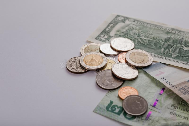 National currency of different countries. Banknotes and coins. royalty free stock images