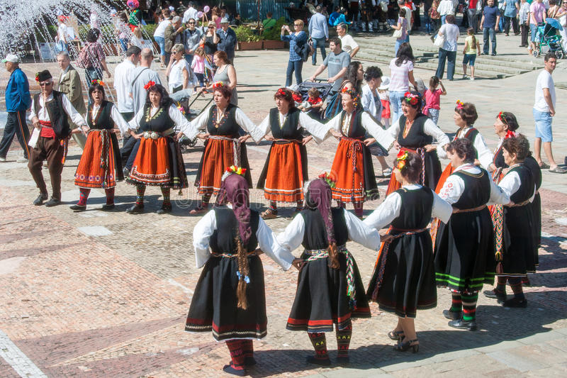 National dance on national jewelry in holliday in Bulgaria royalty free stock photo