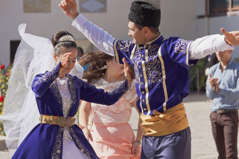 The national dance newlyweds on the Crimean Tatar wedding.Bakhchisarai.  royalty free stock images