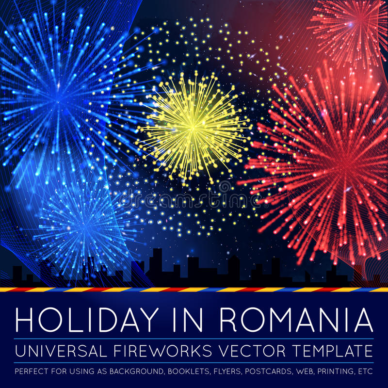National Day of Country in Blending Lines Style with Fireworks vector illustration