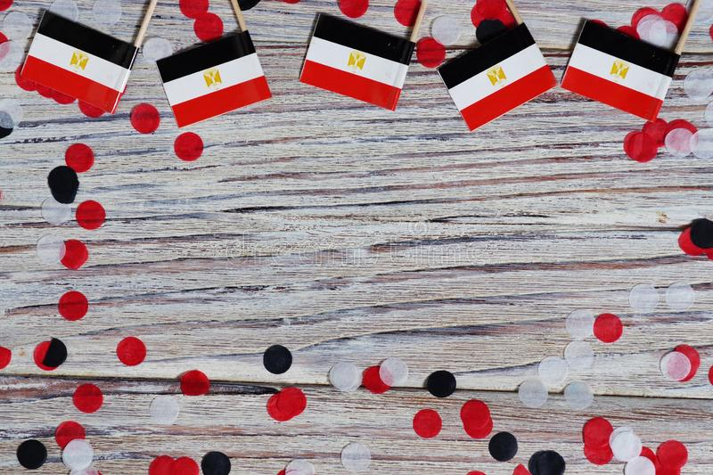 National day of Egypt on 23 July. revolution day. the concept of veterans Day or memorial Day . Egypt glory to the heroes of the. Egypt hanging flag for honour stock image
