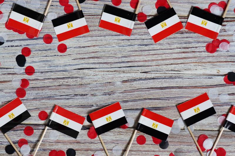 National day of Egypt on 23 July. revolution day. the concept of veterans Day or memorial Day . Egypt glory to the heroes of the. Egypt hanging flag for honour stock photo