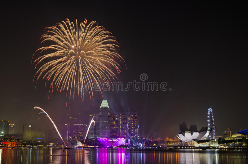 National Day Parade 2013 Rehearsal Fireworks Editorial Stock Image