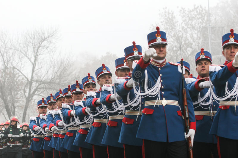National Day of Romania. BUCHAREST, ROMANIA - DECEMBER 1, 2008: Soldiers are marching during a military parade in Bucharest. More than 3,000 soldiers and stock image